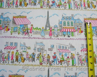 French Paris Ville Cafe Eiffel Tower Stripe BY YARDS Michael Miller Cotton Fabric