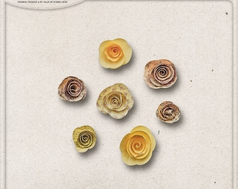 Paper Flowers, Paper Roses, Commercial Use OK, Digital Download, Digital Scrapbooking Embellishments, Floral Paper, Yellow, Pink, Summer