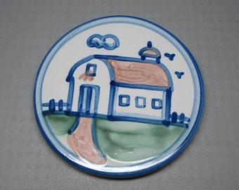 Hadley pottery trivet with barn