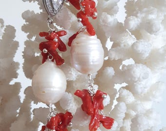 White Baroque pearl earrings, coral and Swarovski crystals