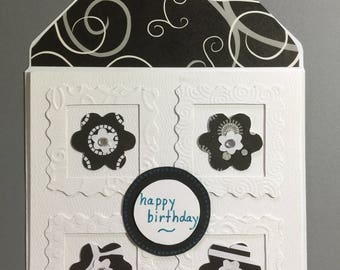 Feminine Birthday Card - Black and White Flowers