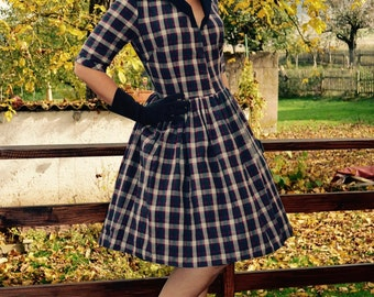 1950 plaid dress with collar