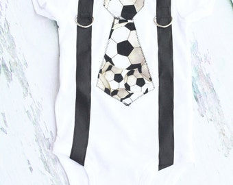 Baby Boy Soccer Tie and Suspenders, Soccer Tie, Blue Suspenders, Boy Cake Smash Outfit, Boy Photography Prop, Boy 1st Birthday: Football