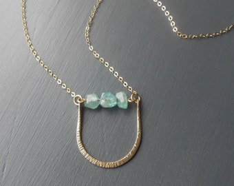 Gold Hammered Pendant Necklace with Blue Green Apatite Nuggets