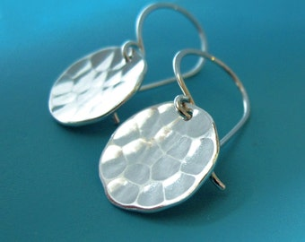 Hammered Earrings in Sterling Silver Small Pool Hand Hammered Discs, Free Shipping
