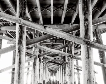 Newport Beach Pier Photography Print Black and White Under the Pier Fine Art Photograph Wall Art Decor | Also Available on Canvas or Metal
