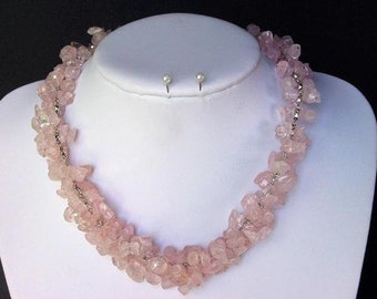 Necklace Rose Pink Quartz Chip Beads Chained Dangle NSQS1417