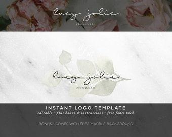 Logo Design - Watercolor Logo - DIY Logo Template - Calligraphy Logo - Nature - Feminine Logo - Photography Logo Watermark - White Sage 15