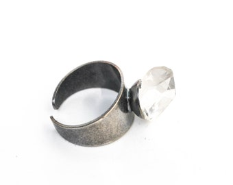 Adjustable raw quartz ring, raw crystal ring, one size crystal ring | Gift wrapped