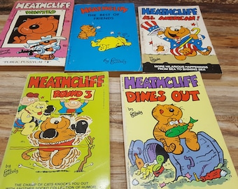 Set of 5 Heathcliff books, 1980s , READ DESTRIPTIONS, Vintage comic strip books
