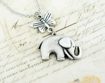 Elephant Necklace,Elephant with Butterfly Necklace, Elephant Jewelry, Everyday Necklace, Lucky Elephant Necklace, Best Friend Necklace