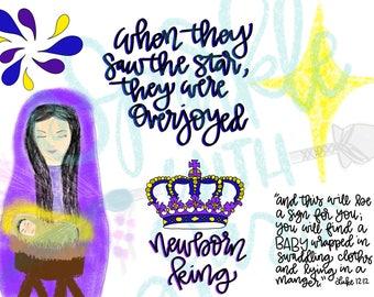 Newborn King Printable - Baby Jesus - Christmas  - The star - Bible Journaling Printable