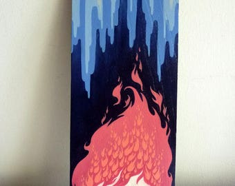 Original Painting Wood Art, Pop Surrealism, Fire Ice, Wall Decor, Wooden Signboard, Acrylic Cute Anime, Blue Pink