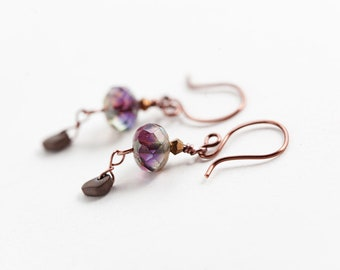 Copper Purple Earrings, Copper Earrings, Bohemian Earrings, Boho Earrings, Glass Dangle Earrings, Purple Copper Earrings, Boho Jewelry