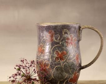 Stoneware pottery ceramic hand painted coffee mug