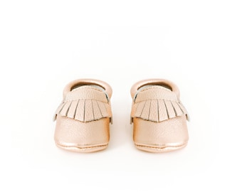 Leather Moccasins In Rose Gold - Baby