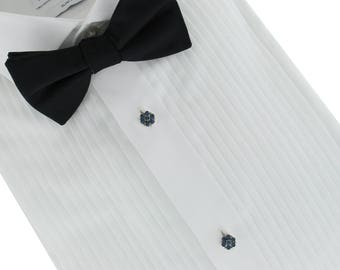 Vintage 1950s Rhinestone Flower Tuxedo Shirt Studs Groom Father of the Bride | Topaz | Black | Sapphire Blue