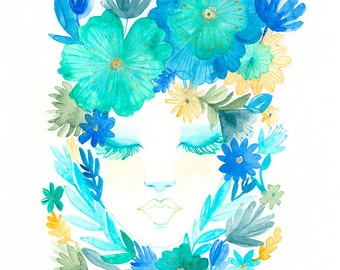 Always Blooming - Art Print, Watercolor Illustration, Bohemian Art, Floral art, Blue colors, Home Decor, Painting