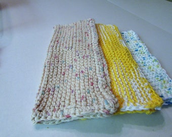 3 Cotton Knitted Dishcloths, Washcloths, Textured Cloths, Eco Friendly Cloths, Cleaning Cloths