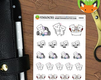 Cat Couples PT.2 - Love Relationship Gaming Movies Couple Date Night - Planner Stickers (C0058)