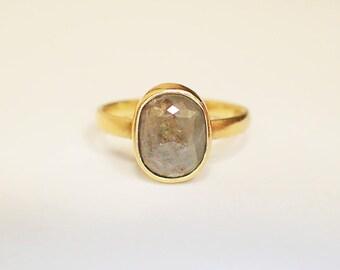 Ring 750 gold diamond Rose Grey
