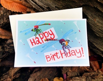 Dragonfly Birthday Card / Dragonfly card/ Happy Birthday Card/ Scratch n' Sniff Card
