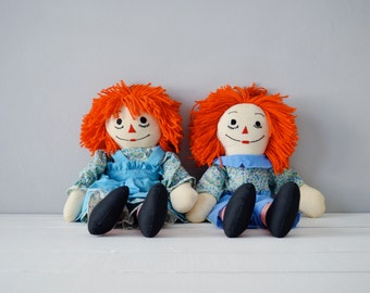Vintage Raggedy Ann Doll - Raggedy Ann and Andy Dolls - Raggedy Ann Nursery Decor - Handmade Raggedy Ann Doll - Raggedy Andy Doll - Ann Andy