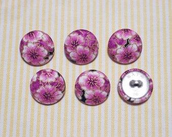 6 Pink Cherry blossoms (Sakura) Flower Pattern Fabric Covered Buttons - 20mm (Metal Shanks, Metal Flatbacks)