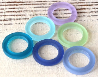 Sea Glass Rings - Cultured Seaglass Beads - Jewelry Making Supply - 23mm Ring Assortment - 12 beads
