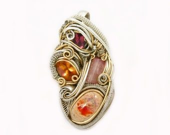 magical mystery tour .:. wire wrap for him or her . pink orange gemstone pendant .