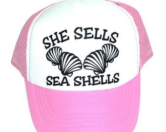 Kid's Youth TODDLER She Sells Sea Shells Mesh Trucker Hat Cap p/w