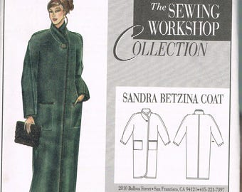 Size 8-20 Misses' Coat Sewing Pattern - Standing Collar Long Coat Pattern - Sandra Betzina Coat - The Sewing Workshop