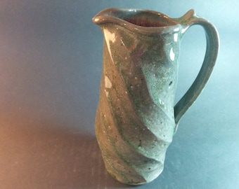 Mothers Day Gift, Ceramic Wedding Gift, small faceted pitcher, light green, maple syrup, pouring vessel, ready to ship