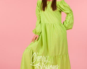 Peasant Dress – Lime Green Off the Shoulder Dress Long with Ruffles in Sizes XS to 5XL,  142.313