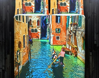 Venice Gondolier Venetian Gondola Bedding Duvet Cover Queen Comforter King Twin XL Size Blanket Sheet Set Baby Crib Toddler Daybed Kids Bed