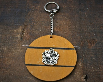 House Hufflepuff Handmade Wooden Keyring/ Keychain - Inspired by Harry Potter