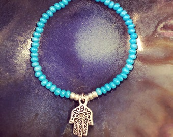 Blue hamsa hand charm stretch beaded bracelet fun funky and beachy