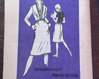 Vintage Mail-order Prominent Designer Rembrandt Sewing Pattern A997 Women's Dress • size 12