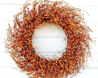 Fall Wreath-Pumpkin Wreath-Mantel Wreath-Wreath for Fireplace-Fall Door Wreath-ORANGE Door Wreath-Autumn Wreath-Primitive Home Decor-Gifts