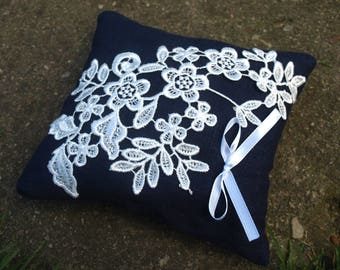Navy Blue Natural Linen Wedding Pillow With Flower Lace - Ring Bearer Pillow - Wedding Ring Pillow