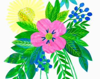 Limited edition Giclée flower bouquet art printillustration