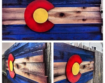Wooden Colorado Flag- Shipping included Aged wood Colorado Art, Rustic. Restaurant decor, Home Decor, Unique, Shabby, Mountain house