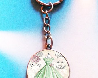 Keychain with 25 mm vintage glass cabochon