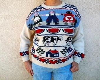Nordic Sweater Hand knit Virgin Lambs Wool Vintage 80s Sweater Medium