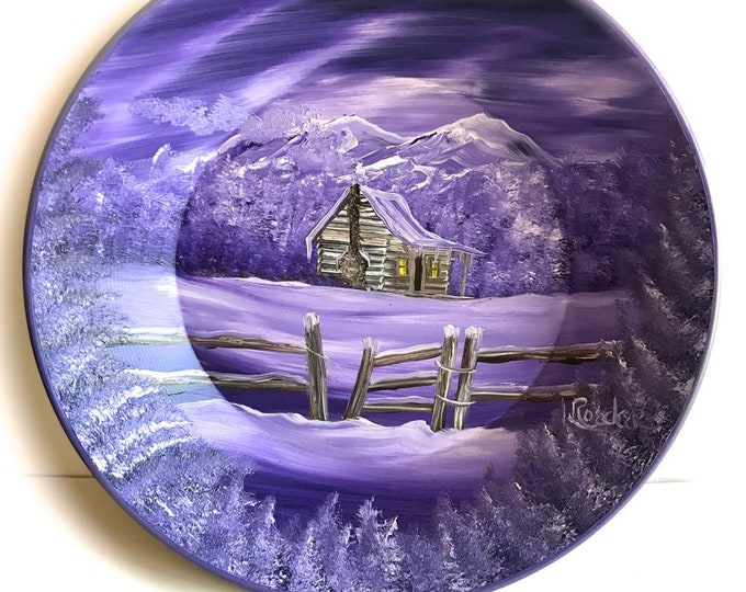 Hand Painted 11 Inch Gold Pans Mountain Mauve Lavender Log Cabin