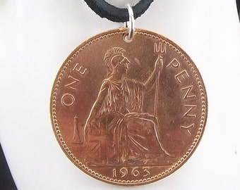 1963 England Coin Necklace, 1 Penny, Coin Pendant, Leather Cord, Mens Necklace, Womens Necklace, 1963