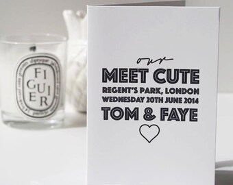 Meet Cute Valentine's Card - Couple's Card - Personalised Card - Valentine's Card - Anniversary Card