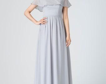 ruffled off shoulder dress, boho wedding dress, romantic dress, long gray chiffon dress, vacation dress, prom party dress, ladies dress 1913