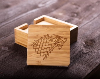 Game Of Thrones Wooden Coaster Set, Bamboo, House Stark Of Winterfell,  Wedding Gift