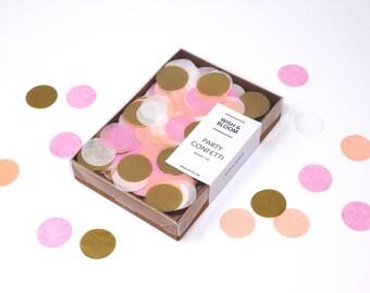 Pink Peach Confetti, Gold Party Confetti, Tissue Confetti, Confetti Mix, Gold Pink Confetti, Wedding Decor, Bachelorette Party, Baby Shower